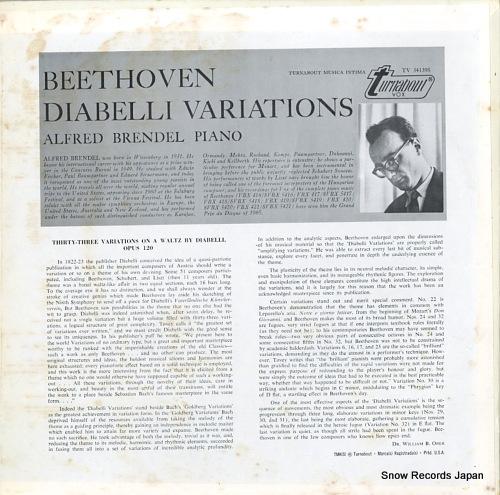 BRENDEL, ALFRED beethoven; diabelli variations TV34139S - back cover