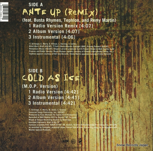M.O.P. ante up (remix) LOUD1984-1 - back cover