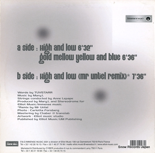 TUVSTARR high and low IMMENSE008 - back cover