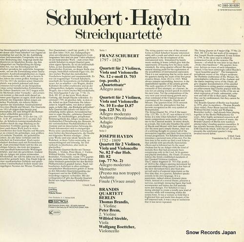 BRANDIS QUARTETT BERLIN schubert; streichquartett es-dur / quartettsatz c-moll 1C065-30829 - back cover