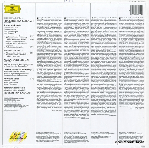 KARAJAN, HERBERT VON rimsky-korsakov; scheherazade 419063-1 - back cover