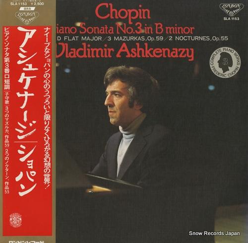 ASHKENAZY, VLADIMIR chopin; piano sonata no.3 in b minor SLA1153 - front cover