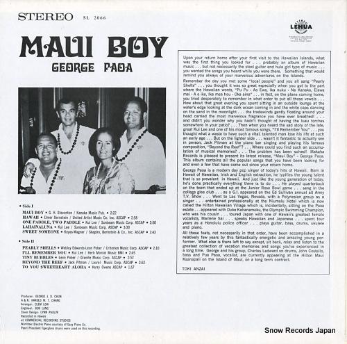 PAOA, GEORGE maui boy SL2066 - back cover