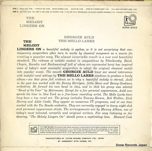 AULD, GEORGIE the melody lingers on RANK-5002 - back cover