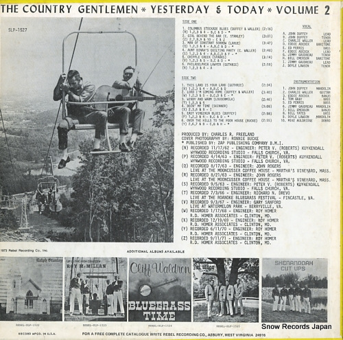 COUNTRY GENTLEMEN, THE yesterday & today volume2 SLP-1527 - back cover