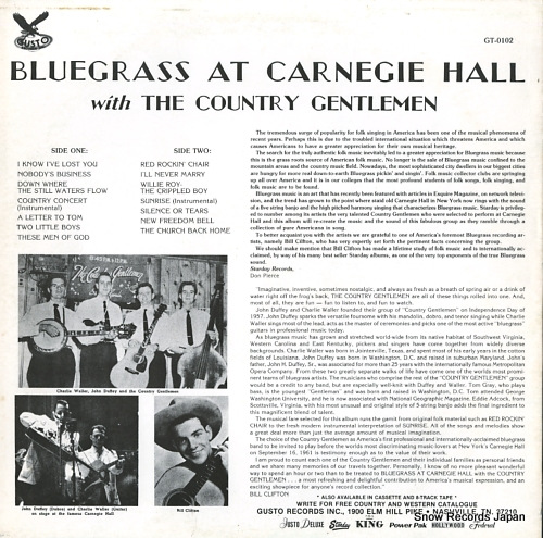 COUNTRY GENTLEMEN, THE bluegrass at carnegie hall GT-0102 - back cover