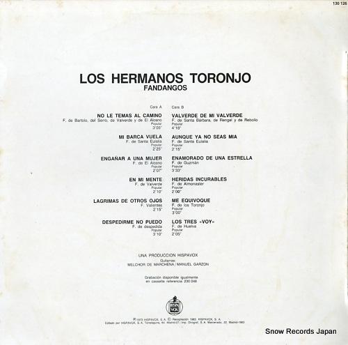 LOS HERMANOS TORONJO fandangos 130126 - back cover