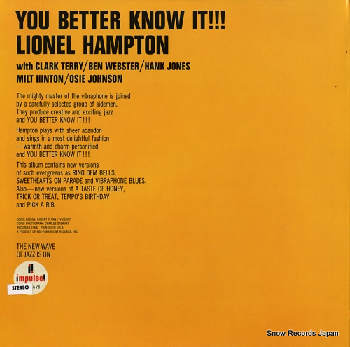 HAMPTON, LIONEL you better know it !!! AS-78 - back cover