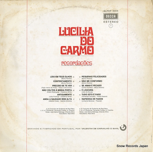 DO CARMO, LUCILIA recordacoes SLPDP5004 - back cover