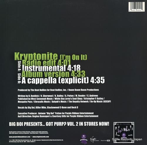 PURPLE RIBBON ALLSTARS kryptonite (i'm on it) 0946-334040-1-4 - back cover
