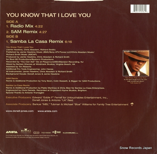 JONES, DONELL you know that i love you 74321956961 - back cover