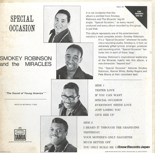 ROBINSON, SMOKEY, AND THE MIRACLES special occasion TS290 - back cover