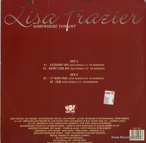 FRAZIER, LISA somewhere tonight UDP1072 - back cover
