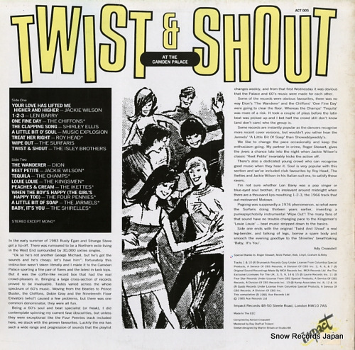 V/A twist & shout at the camden palace ACT005 - back cover