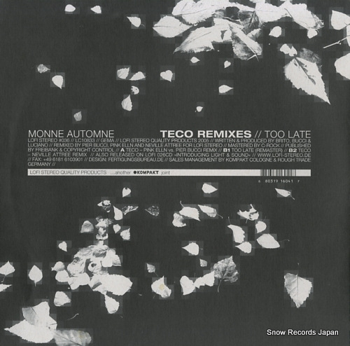 MONNE AUTOMNE teco remixes / too late LOFISTEREO#36 - back cover