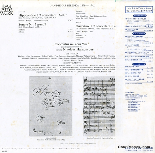 HARNONCOURT, NIKOLAUS zelenka; hipocondrie / ouverture a 7 / sonata ii K25C-41 - back cover
