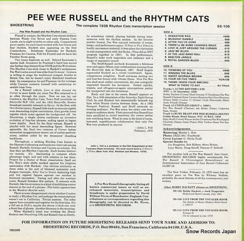 RUSSELL, PEE WEE / THE RHYTHM CATS the complete 1938 rhythm cats transcription session SS-109 - back cover