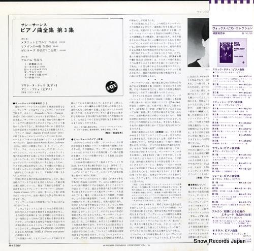 DOSSE, MARYLENE saint-saens; complete works for piano volume iii H-4520V - back cover