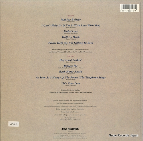 TWITTY, CONWAY, AND LORETTA LYNN marking believe MCA-42216 - back cover