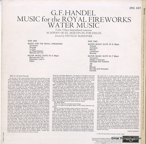 MARRINER, NEVILLE handel; music for the royal fireworks / water music ZRG697 - back cover