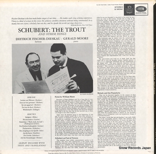 FISCHER-DIESKAU, DIETRICH schubert; the trout and orher songs ANGEL36341 - back cover