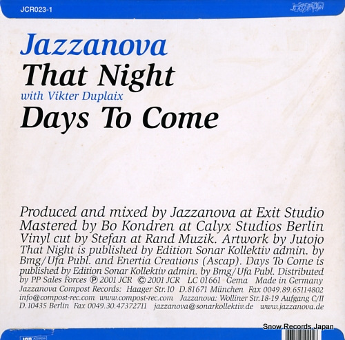 JAZZANOVA that night / days to come JCR023-1 - back cover