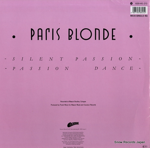 PARIS BLONDE silent passion 608445 - back cover