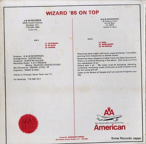 WIZARD '85 on top A/B4352 - back cover