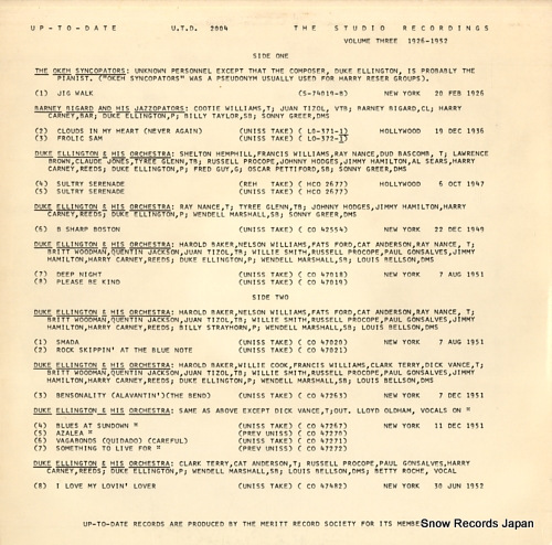 UP-TO-DATE the studio recordings volume three (1926-1952) U.T.D.2004 - back cover