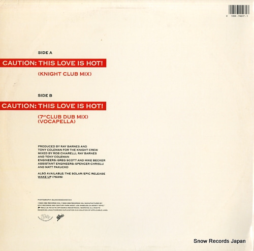 SHALAMAR caution: this love is hot 4574517 - back cover