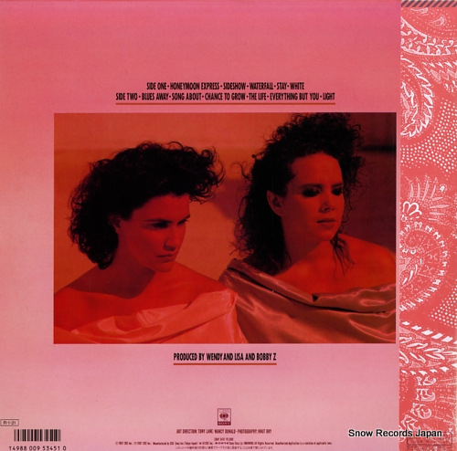 WENDY AND LISA wendy and lisa 28AP3415 - back cover