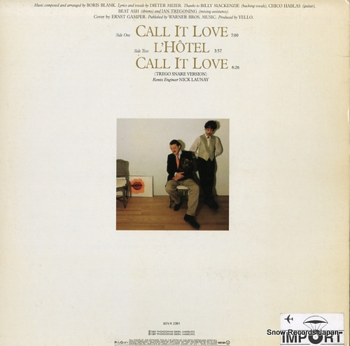 YELLO call it love SOVX2391 - back cover