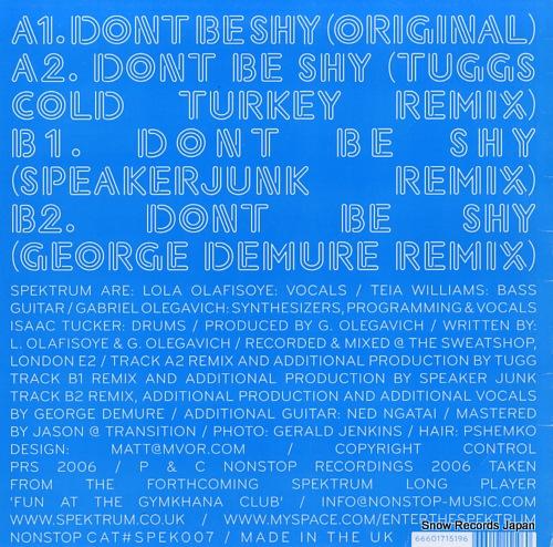 SPEKTRUM don't be shy SPEK007 - back cover