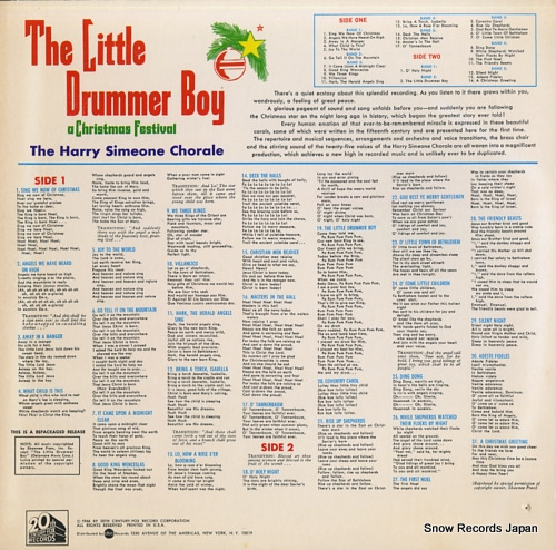 HARRY SIMEONE CHORALE, THE the little drummer boy / a christmas festival S3100 - back cover