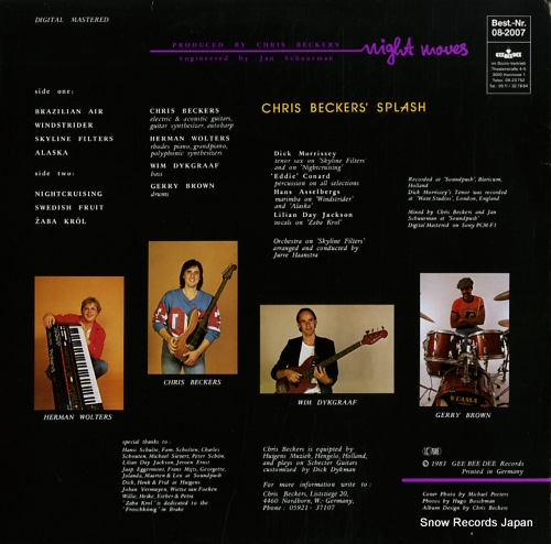 CHRIS BECKERS SPLASH night moves GBD0059 - back cover