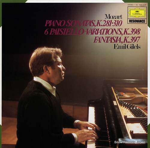 GILELS, EMIL mozart; piano sonatas, k.281 and 310 15MG3046 - front cover