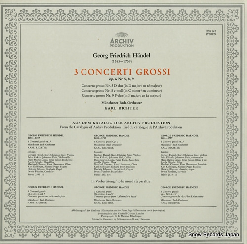RICHTER, KARL handel; 3 concerti grossi op.6 nos.5, 8, 9 2533142 - back cover