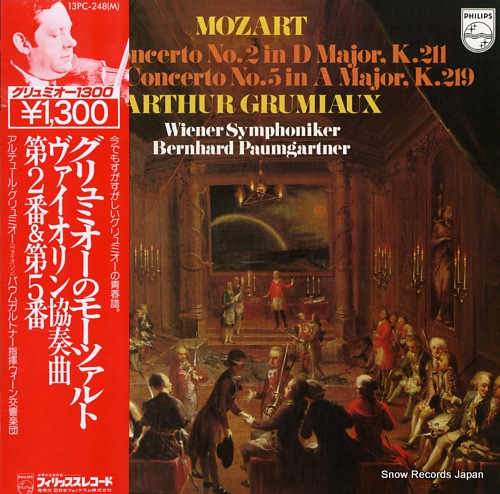 GRUMIAUX, ARHEUR mozart; violin concerto no.2 and no.5 13PC-248(M) - front cover