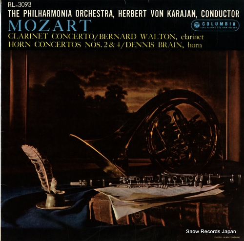 KARAJAN, HERBERT VON mozart; clarinet concerto / horn concertos nos.2 & 4 RL-3093 - front cover