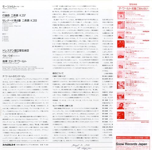 WAART, EDO DE mozart; serenade in d, k.203 / march in d, k.237 18PC-81 - back cover