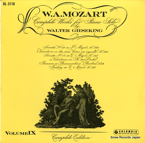 GIESEKING, WALTER mozart; complete works for piano solo / volume ix OL-3119 - front cover