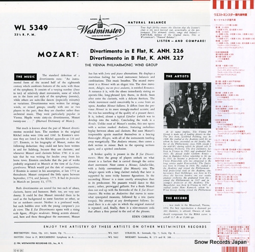 VIENNA PHILHARMONIC WIND GROUP, THE mozart; divertimento, k.anh.226, 227 G-10559 - back cover