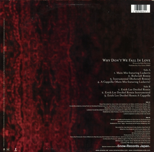 AMERIE why don't we fall in love (remixes) 44-79774 - back cover
