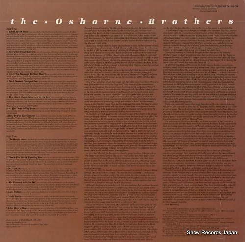 OSBORNE BROTHERS, THE the osborne brothers SS04 - back cover