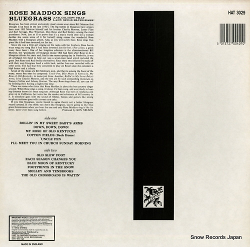MADDOX, ROSE sings bluegrass HAT3029 - back cover