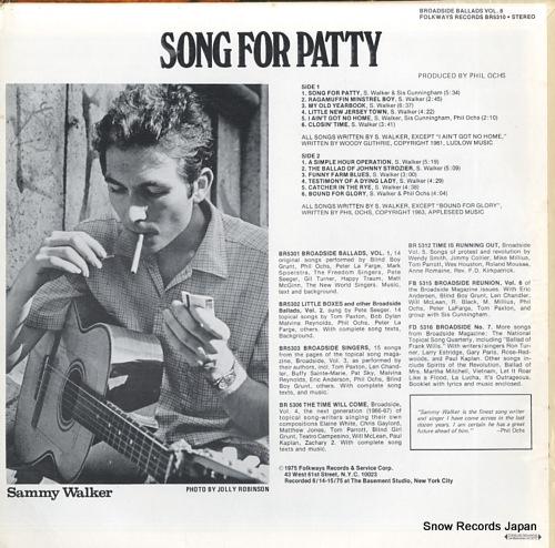 WALKER, SAMMY broadside ballads vol.8 / song for patty BR5310 - back cover
