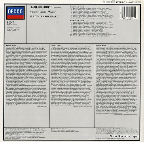 ASHKENAZY, VLADIMIR chopin; waltzes 414600-1 - back cover