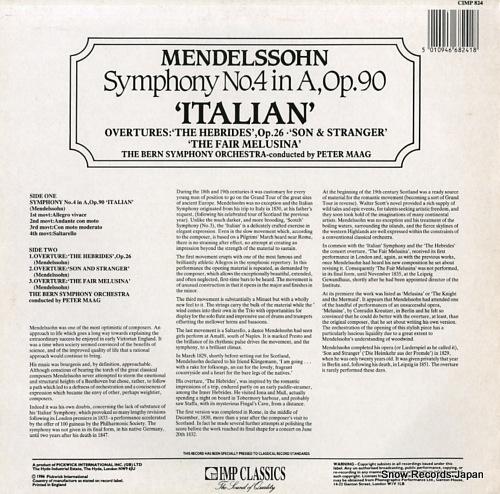 MAAG, PETER mendelssohn; no.4 in a, op.90