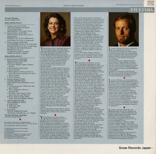 KENNY YVONNE recital at wigmore hall ETC1029 - back cover