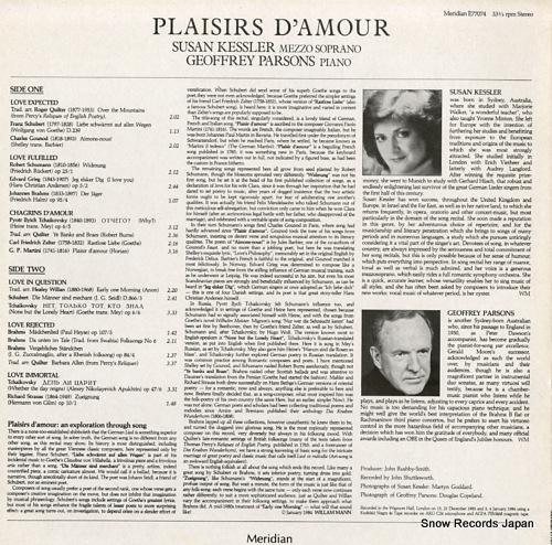 KESSLER, SUSAN / GEOFFREY PARSONS plaisir d'amour E77074 - back cover